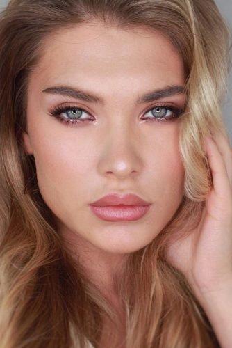 bridal makeup trends natural blush tones elegant pink lips long lashes lera.rana