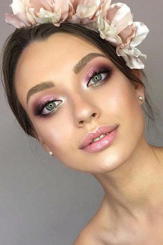 bridal makeup trends blush shimmer smokey with green accents alexeeva_victoria