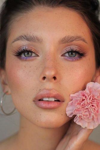 bridal makeup trends lilac pink liner silver eyeshadows long lashes nude lips yana.yasnaya