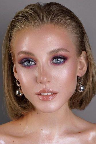 bridal makeup trends lilac blue pink eyeshadows with long lashes vizagistvaleria