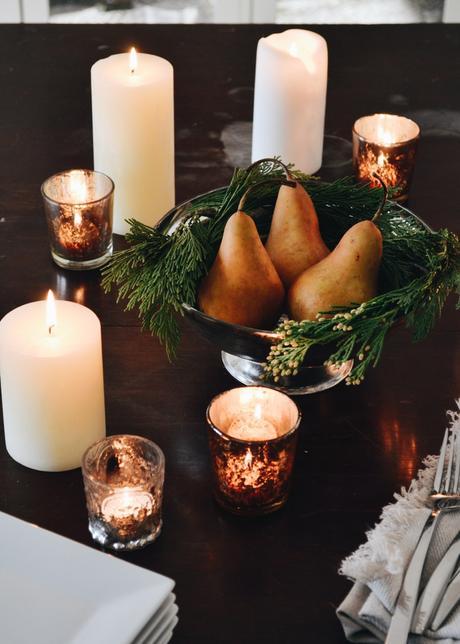 Table Decor: Easy Pear & Cedar Centerpiece