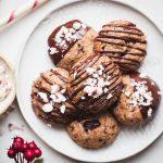 These Gluten-Free Vegan Peppermint Chocolate Chip Cookies will make your cookie dreams come true! They make perfect Christmas cookies and taste so scrumptious, especially with the extra chocolate drizzle.