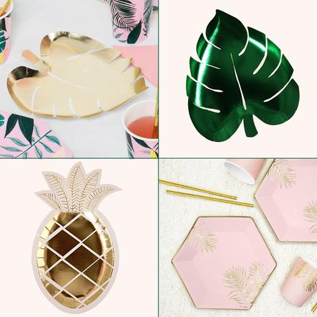 Tropical paper plates for parties