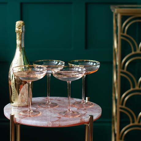 Cool barware - pink cocktail glasses or champagne coupes