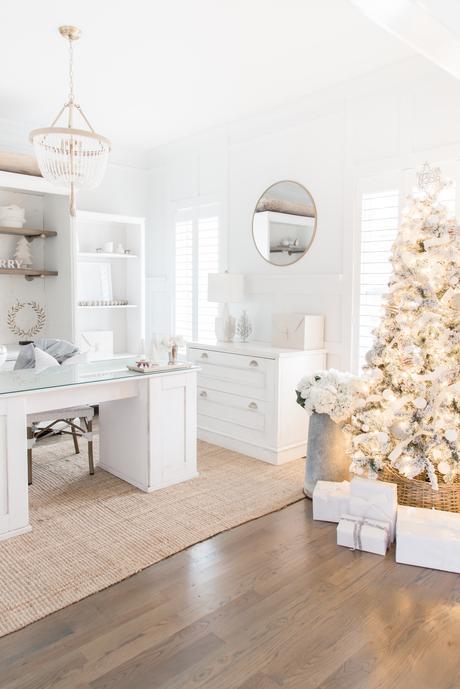 Neutral Christmas Office Decor Home Tour