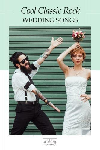 classic rock wedding songs couple newlyweds doing silly pose