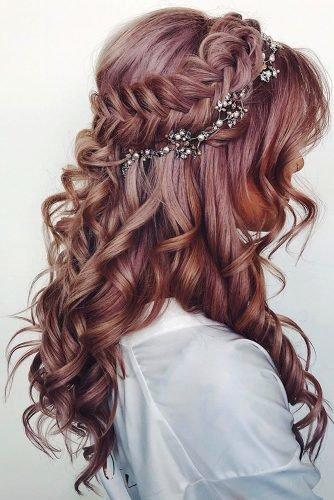 wedding hair trends curly braided half up half down with crystal halo ashleyglazerhair