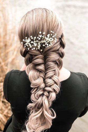 wedding hair trends long blonde braid with baby breath flowers hairdobymijntje