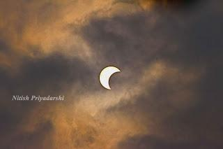 View of partial (Annular) solar eclipse on 26th December in Ranchi city.
