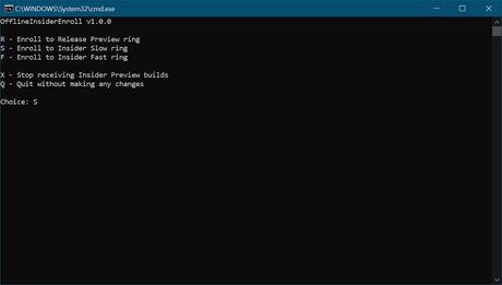 select windows insider program ring - offlineInsiderEnroll