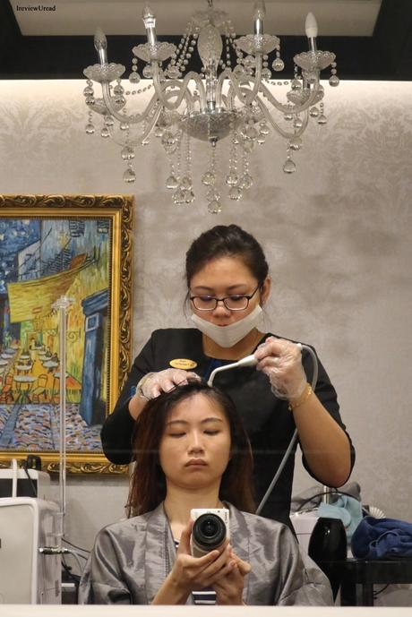 Cleansing my scalp with TK TrichoKare Award-Winning Advanced Scalp Detox & Care Treatment