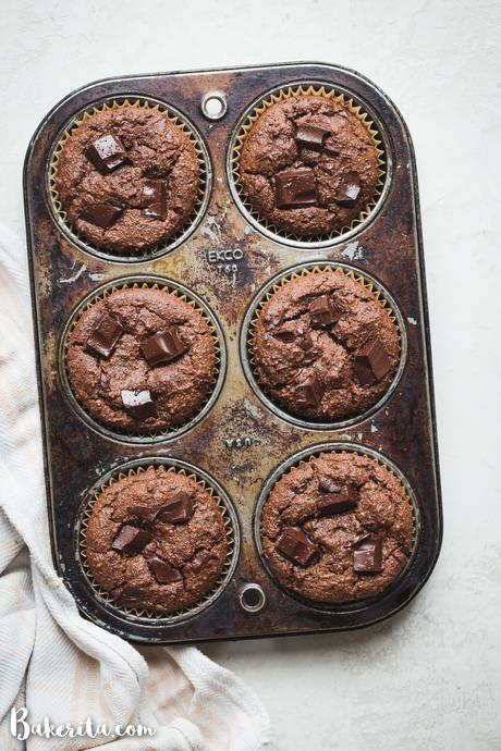 TheseGluten-Free Vegan Double Chocolate Muffinsare tender, super chocolatey, and absolutely delicious. They are perfect for chocolate lovers!
