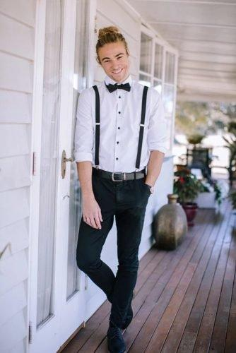 grooms attire details with bow tie suspenders rustic magicmomentsbymichele