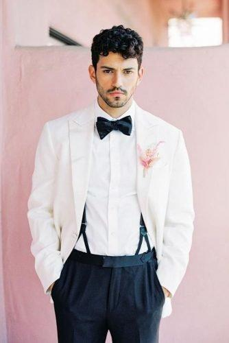grooms attire details with bow tie white jacket suspenders sally pinnera