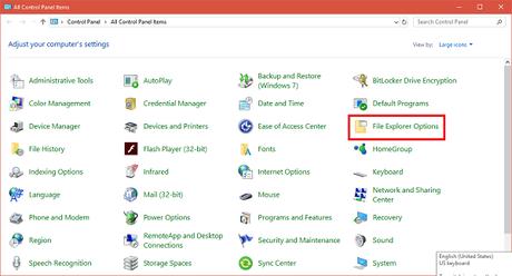 file explorer options folder in control panel in windows 10