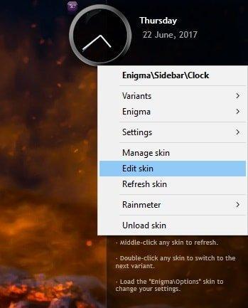 edit rainmeter skins in windows 10