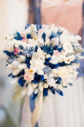classic blue wedding small bouquet with bohemian flowers lavendercastle.ru