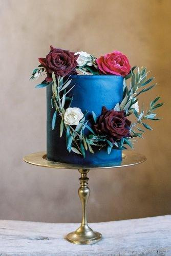 classic blue wedding simple small with red roses and greenery abakeshop