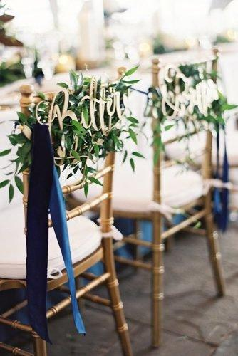 classic blue wedding stripes decor with signs and greenery virgil bunao