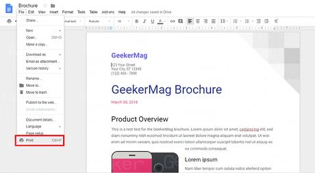 print document in Google Docs