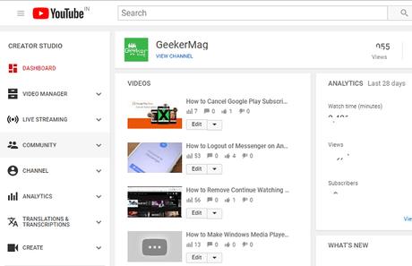 youtube community section