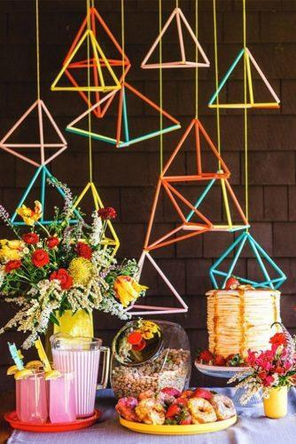 rwedding dessert table ideas vintage modern table geometric decor odeoandco