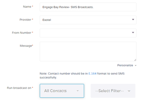 EngageBay SMS campaigns