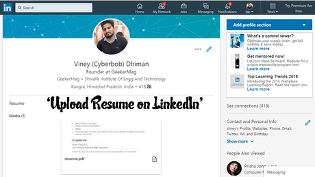 how to upload resume on linkedin
