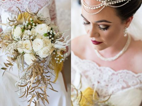Close up details of art deco styled bride with makeup and bouquet.