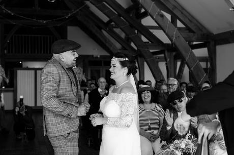 Groom super excited to kiss the bride for the first time at York wedding.
