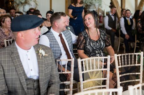Guests at Sandburn Hall wedding dressed in 1920's style outfits.