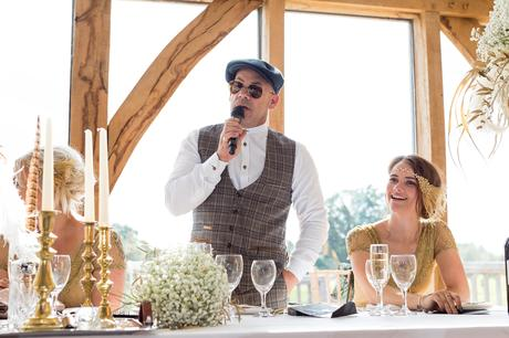 Father of the bride giving speech wearing sunglasses at Sandburn Hall wedding.