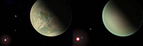 Conceptual image of water-bearing (left) and dry (right) exoplanets with oxygen-rich atmospheres. Crescents are other planets in the system, and the red sphere is the M-dwarf star around which the exoplanets orbit. The dry exoplanet is closer to the star, so the star appears larger