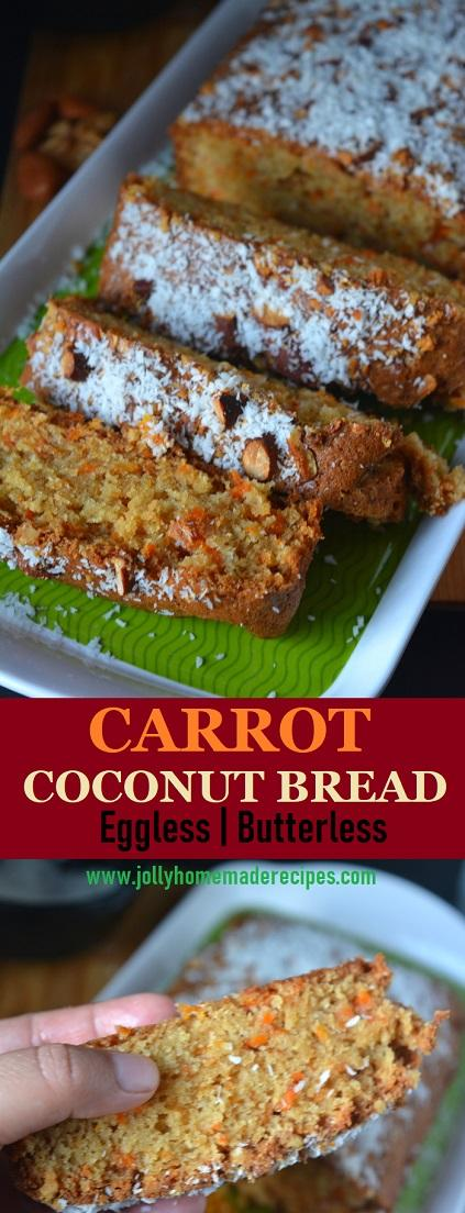 Carrot Coconut Bread (Eggless) | How to make Carrot Coconut Cake