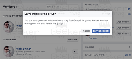 leave and delete facebook group