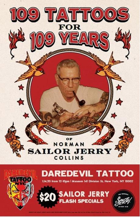 Score Sailor Jerry Tattoos For $20.00 For Norman Collins 109th Birthday