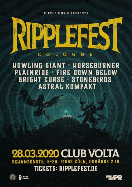 RIPPLEFEST COLOGNE returns with Howling Giant, Horseburner, Plainride, Fire Down Below, StoneBirds, Bright Curse and Astral Kompakt!