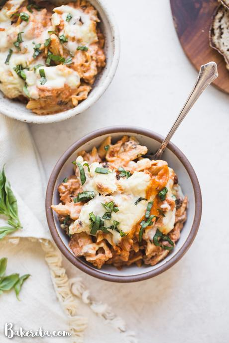 How to make Vegan Baked Ziti that's creamy, cheesy, and absolutely delicious! It's made with gluten-free noodles, marinara sauce, easy vegan ricotta cheese, and homemade vegan mozzarella sauce.