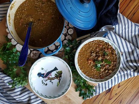 spiced lentil & sausage soup