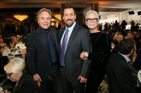 (L-R) Don Johnson, Adam Sandler, and Jamie Lee Curtis attend AARP The Magazine's 19th Annual Movies For Grownups Awards at Beverly Wilshire, A Four Seasons Hotel on January 11, 2020 in Beverly Hills, California.