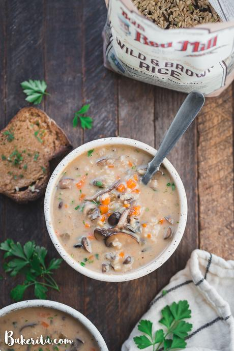 ThisVegan Mushroom Wild Rice Soupis cozy, comforting, and so simple to make in under an hour using just one pot! It's the perfect healthy vegan dinner for chilly nights. It's loaded with mushrooms, wild rice, and vegetables.