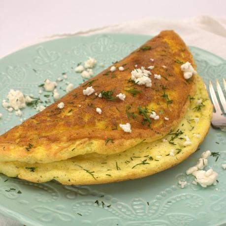 Puffy Herb Omelet with Chevre