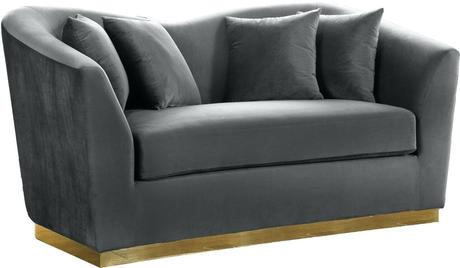 grey velvet settee gray sofa bed meridian furniture l