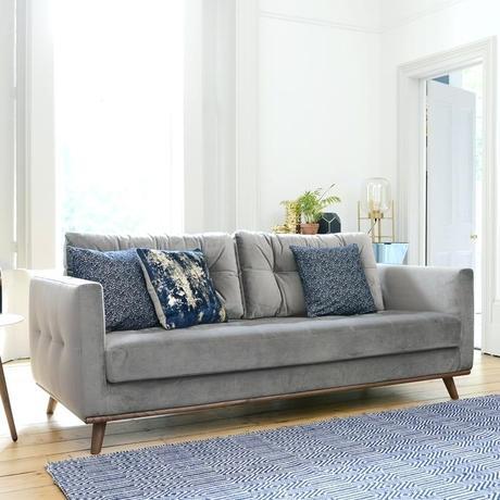 grey velvet settee gordon loveseat three sofa dwell