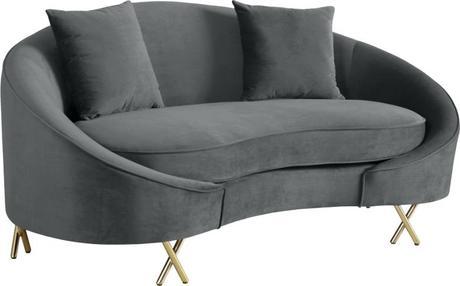 grey velvet settee sofa set meridian serpentine