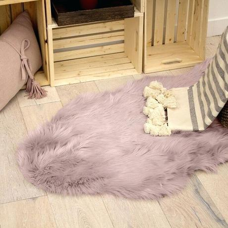 faux shearling rug fur white small sheepskin dusty lilac area