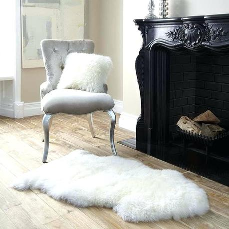 faux shearling rug sheepskin 8x10 white fur chic in interior decorating