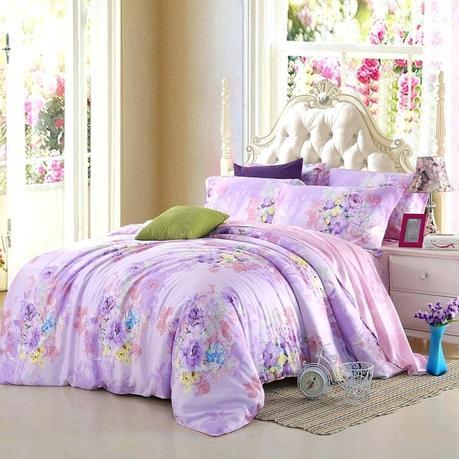 purple lilac bedding duvet sets light set floral queen king size mid