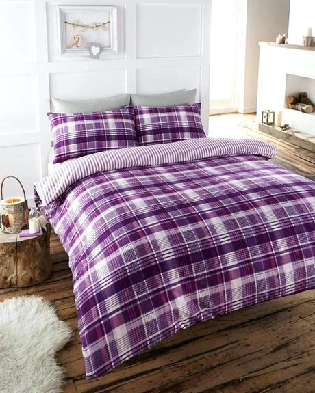 purple lilac bedding and sets cotton tartan check duvet plum flannelette quilt cover