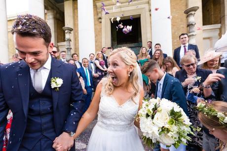 Dynamic confetti shot during Asylum wedding.